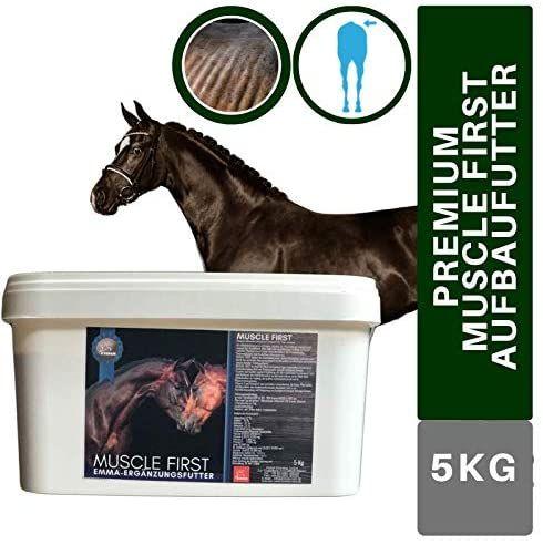 EMMA® Muscle First Aufbaufutter I Aminsoäuren für Stoffwechsel I Muskelaufbau für Pferde I Vitamine A C D3 E I Biotin Plus Lysin Zink und Selen I Energy Booster Senior Pferd 5 Kg