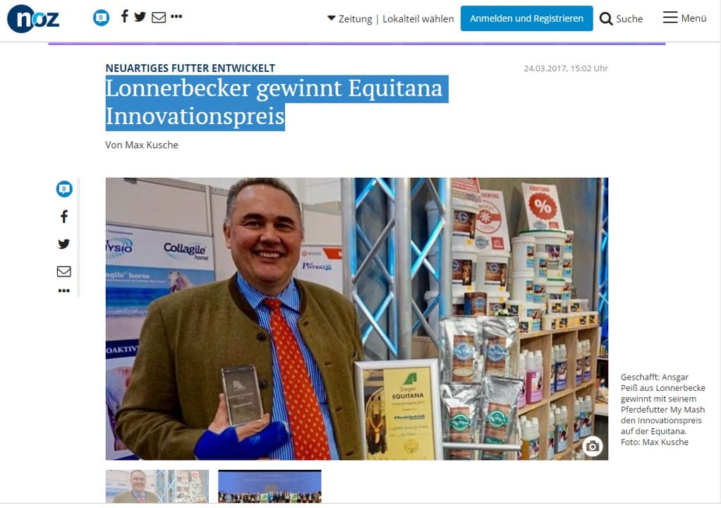 Lonnerbecker Unternehmen gewinnnt Innovationspreis für Futtermittel