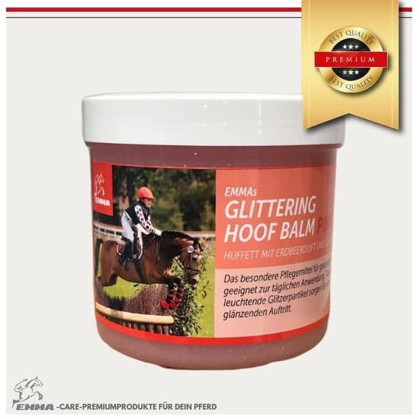 Huffett Glitzer-Hufpflege Gel mit Duft & Glitzer für die Pflege der Hufe-Erdbeer 500 ml