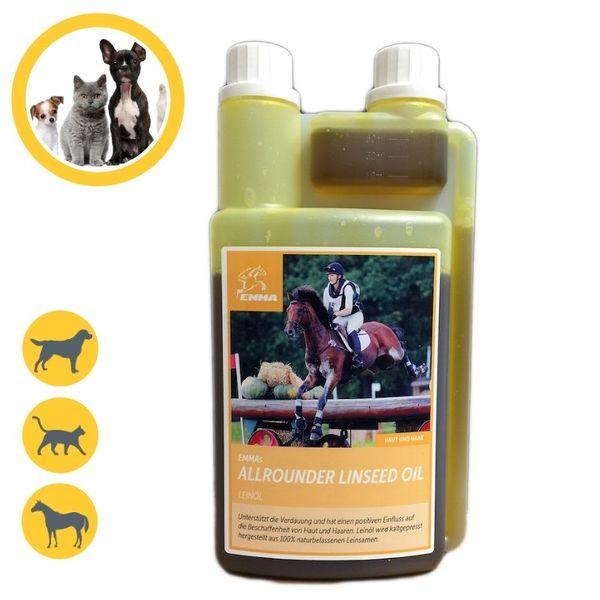 EMMA Leinöl fürs Pferd I Pferdefutter I Ergänzungsfutter, glänzendes Fell & Gute Verdauung & Fellwechsel I Omega 3 6 9 kaltgepresst 1 Liter