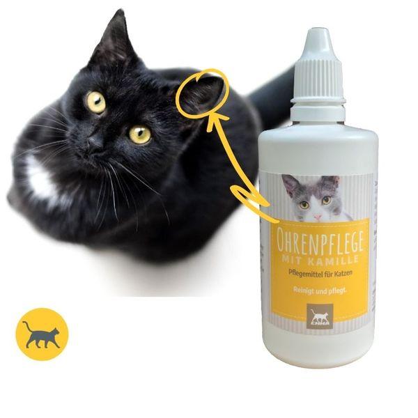 EMMA Ohrenreiniger für Katzen I 100ml I Ohr Reinigung mit Kamille I Ohrenpflege bei Jucken, Kopfschütteln & Geruch I milder Ohren-Reinige