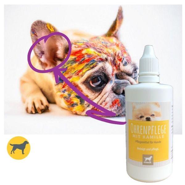 EMMA Ohrenreiniger für Hunde I 100ml I Ohr Reinigung mit Kamille I Ohrenpflege bei Jucken, Kopfschütteln & Geruch I milder Ohren-Reiniger