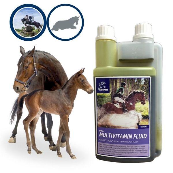 EMMA Multi-Vitamine für Pferde I Ergänzungsfutter I Mischung mit B-Vitaminen, Zink & Eisen I tragende Stuten, Senioren 1 Liter