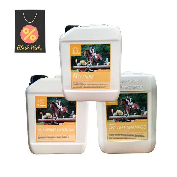 SPARPAKET, Haut & Haare, Leinöl 2,5 Liter,  Teebaumöl Shampoo, Mähnenspray 2,5 L fürs Pferd