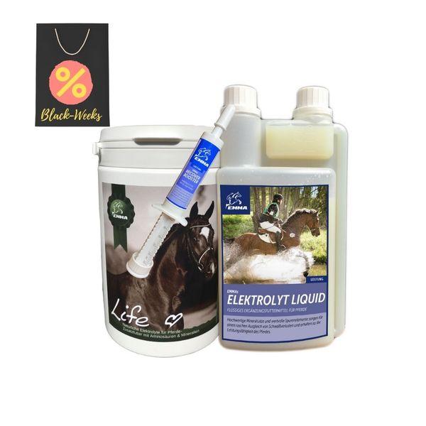 EMMA® Elektrolyte Set Pulver, Liquid, Paste Mineralstoffe Natrium Salze Magnesium I Vitamin B-Komplex B1 B2 B6 B12, Durchfall Schwitzen I Mineralien Hydration Regeneration Pferd 700gr 1St 1L