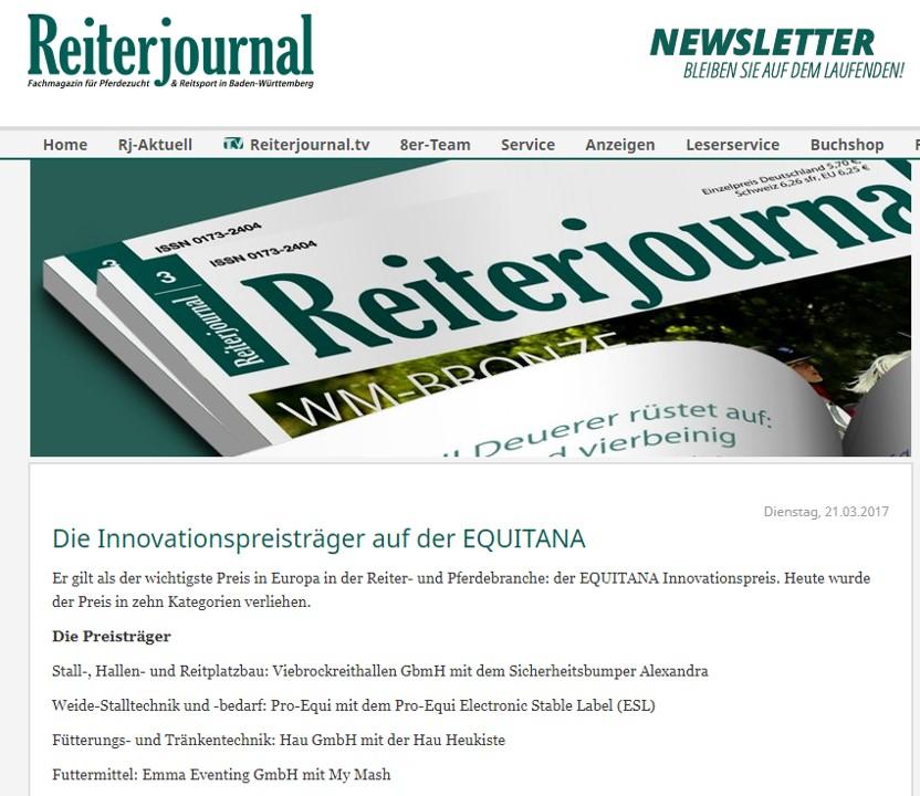 Reiterjournal über EMMA Eventing Innovationspreis