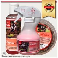 Pferdepflege Set 3 teilig Pferde Leckerlies, Mähnenspray & Pferdeshampoo in pink