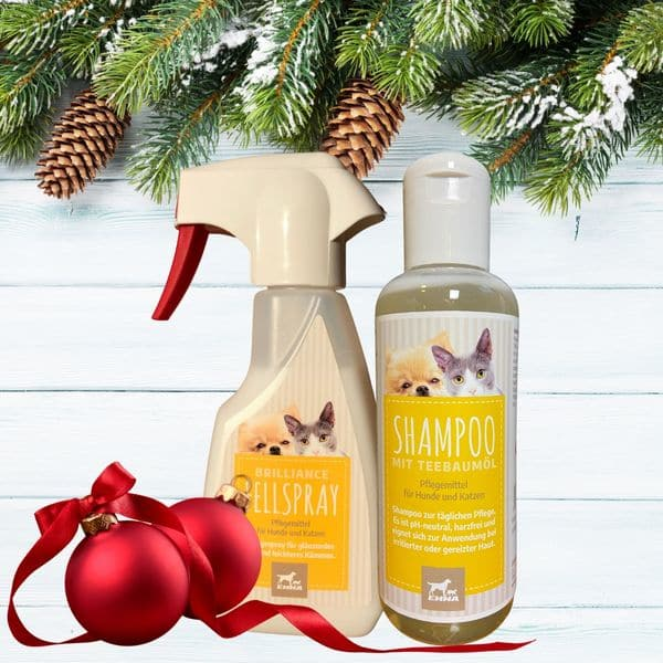 Entfiltzungsspray + Hunde & Katzen Shampoo I Fellpflege I Teebaumöl Hundeshampoo gegen Juckreiz & Ge