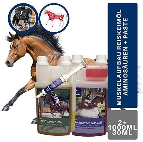 EMMA®  Aminosäure & Vitamin E & Reiskeimöl für Pferde Sparset I Aminosäure & Gamma-Oryzanol I unterstützt den Muskelaufbau I Top Senioren Futter 3 teilig