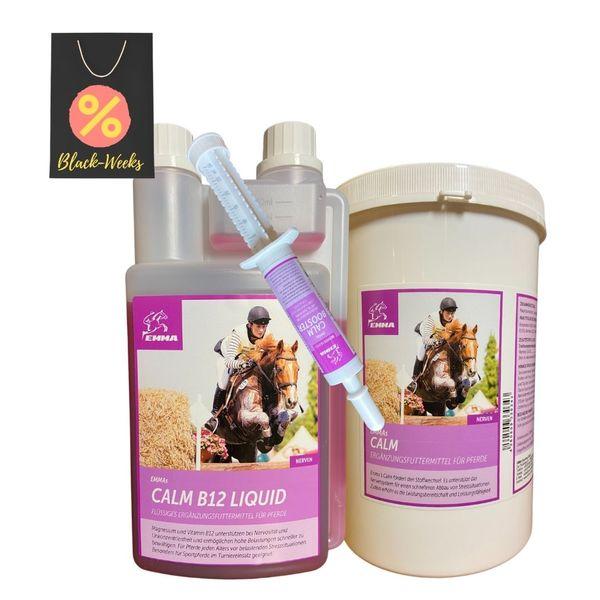 EMMA® Vitamin B12 I Magnesium I Set Pulver Liquid Booster I Calm zur Beruhigung Nerven I L-Tryptophan Zink I Angst Stress I unterstützt Gelassenheit schreckhafte nervöse Pferde 1Kg 30ml 1L
